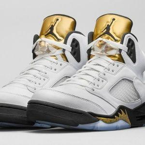 Nike Air Jordan Retro 5 Olympic Gold Coin Size 6.5